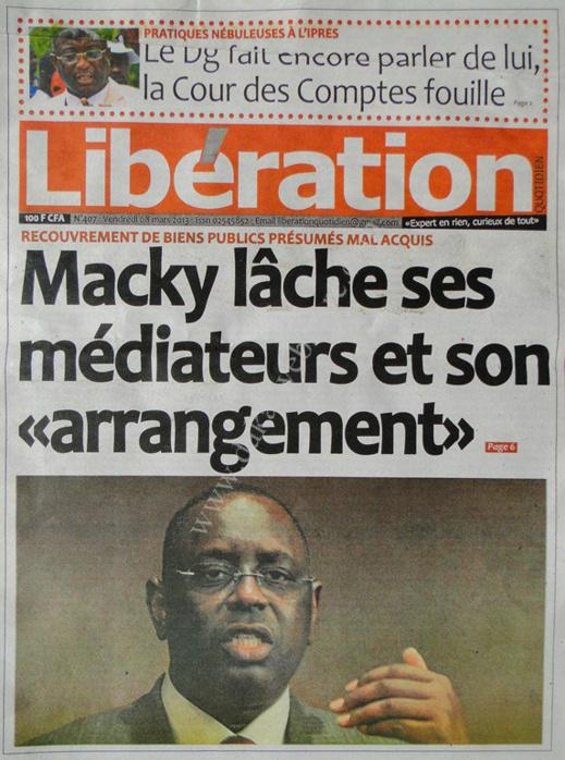 A la Une du Journal Libération du vendredi 08 Mars 2013