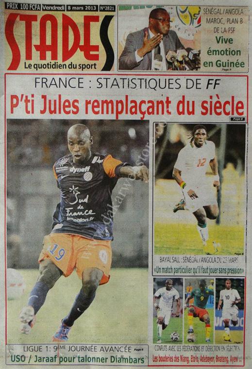 A la Une du Journal Stades du vendredi 08 Mars 2013