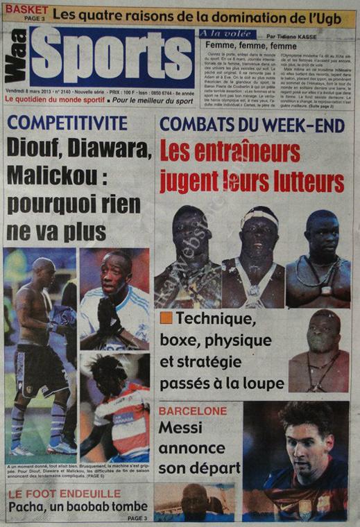 A la Une du Journal Waa Sports du vendredi 08 Mars 2013