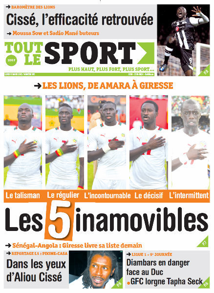 A la Une du Journal Tout Le Sport du lundi 11 mars 2013