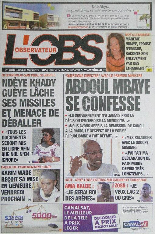 A la Une du Journal L'Observateur du lundi 11 mars 2013