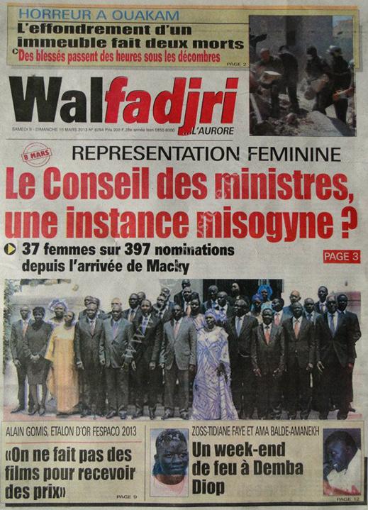 A la Une du Journal Walfadjri du lundi 11 mars 2013