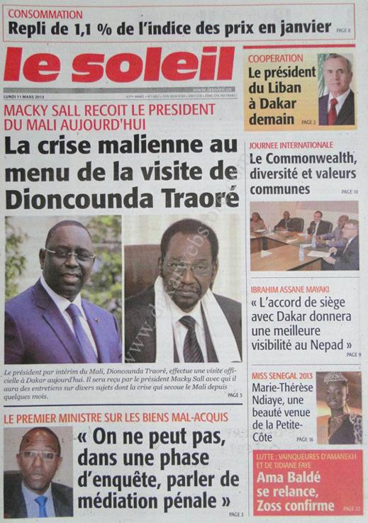 A la Une du Journal Le Soleil du lundi 11 mars 2013