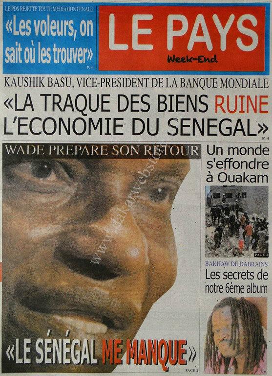 A la Une du Journal Le Pays du lundi 11 mars 2013