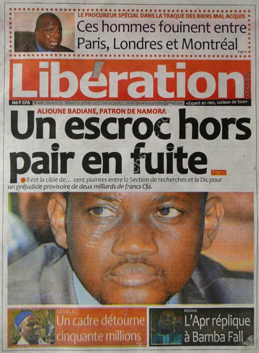 A la Une du Journal Libération du lundi 11 mars 2013