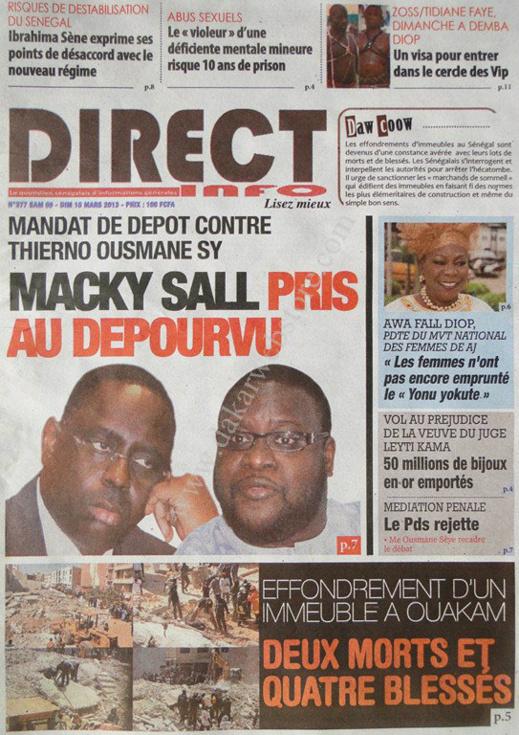 A la Une du Journal Direct Info du lundi 11 mars 2013