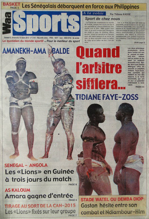 A la Une du Journal Waa Sports du lundi 11 mars 2013