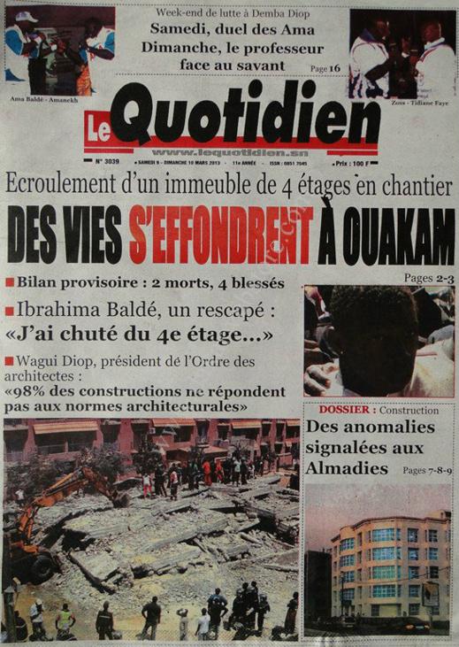 A la Une du Journal Le Quotidien du lundi 11 mars 2013