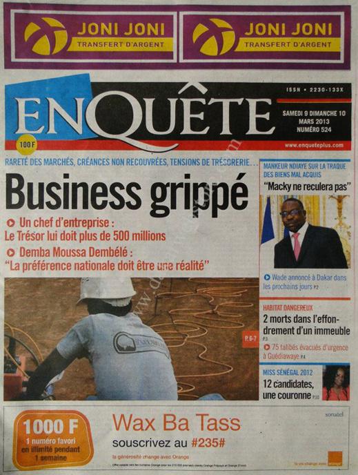 A la Une du Journal EnQuête du lundi 11 mars 2013