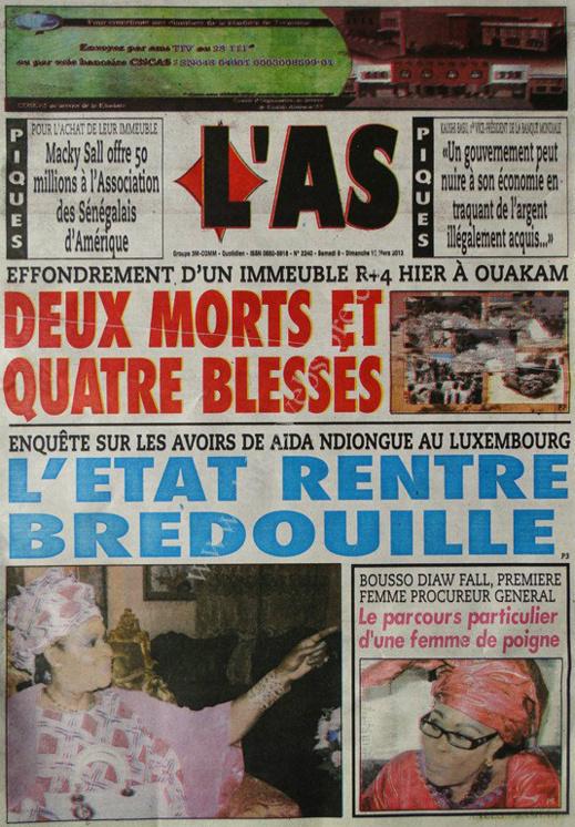 A la Une du Journal L'As du lundi 11 mars 2013