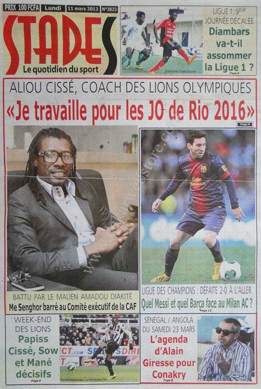 A la Une du Journal Stades du lundi 11 mars 2013
