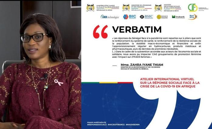 Atténuation des risques socio-économique liés à la COVID-19  Madame Zahra Iyane THIAM DIOP partage l'expertise sénégalaise devant les Etats Africains