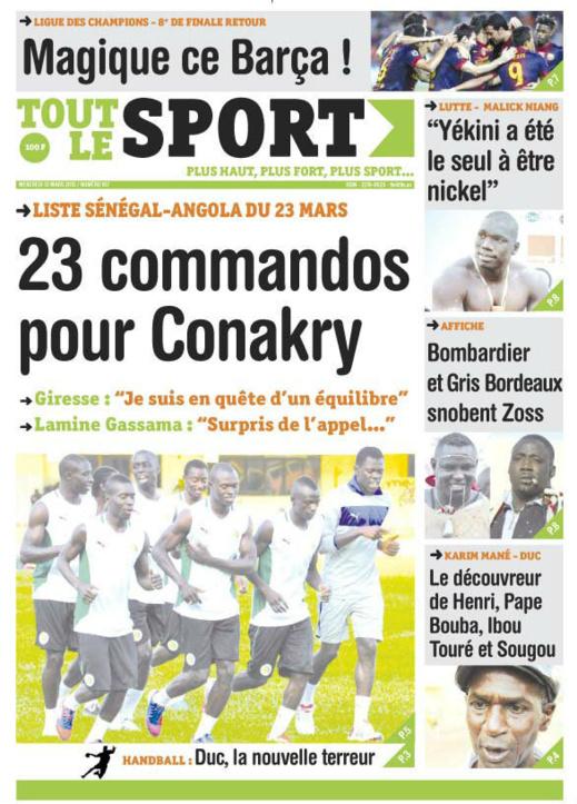 A la Une du Journal Tout Le Sport du mercredi 13 mars 2013