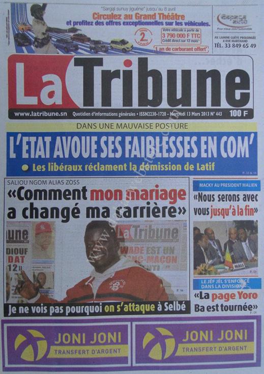 A la Une du Journal La Tribune du mercredi 13 mars 2013