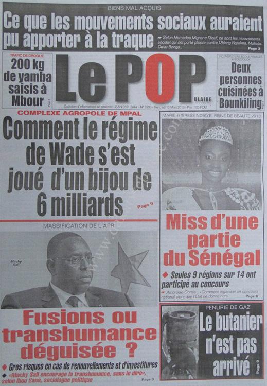 A la Une du Journal Le Populaire du mercredi 13 mars 2013