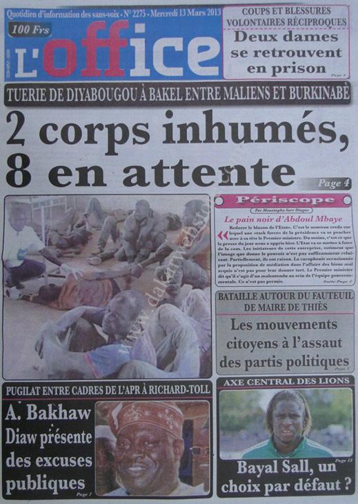 A la Une du Journal L'Office du mercredi 13 mars 2013