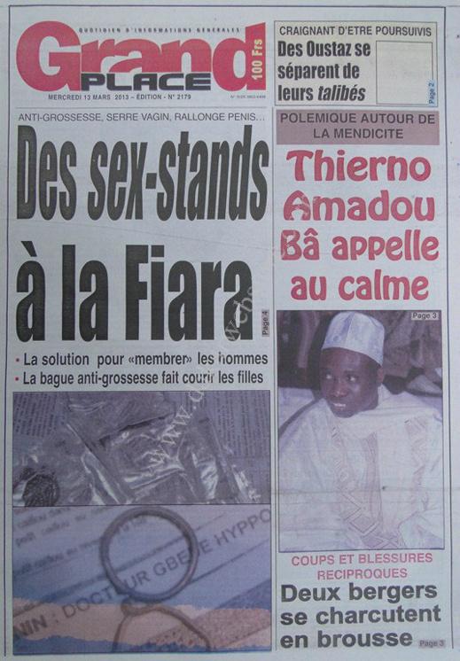 A la Une du Journal Grand Place du mercredi 13 mars 2013
