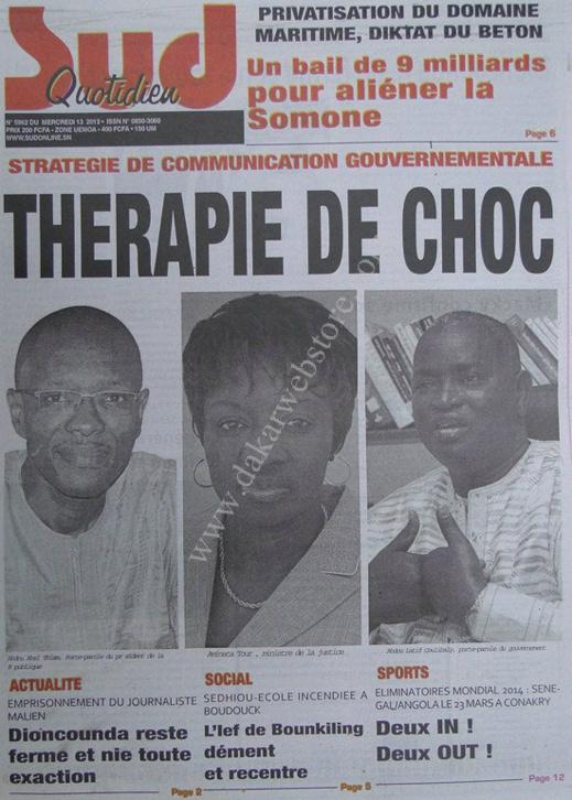A la Une du Journal Sud Quotidien du mercredi 13 mars 2013