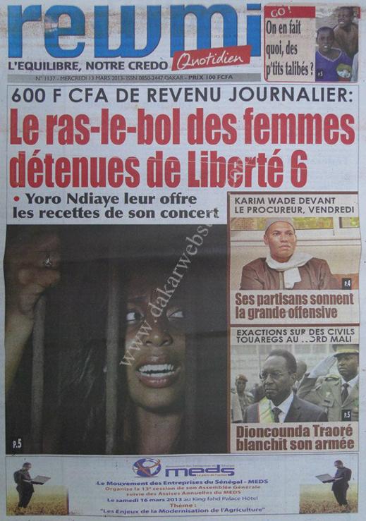A la Une du Journal Rewmi du mercredi 13 mars 2013