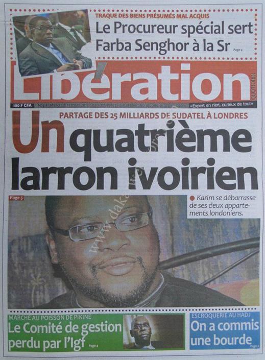 A la Une du Journal Libération du mercredi 13 mars 2013