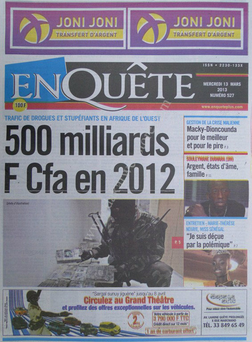 A la Une du Journal EnQuête du mercredi 13 mars 2013