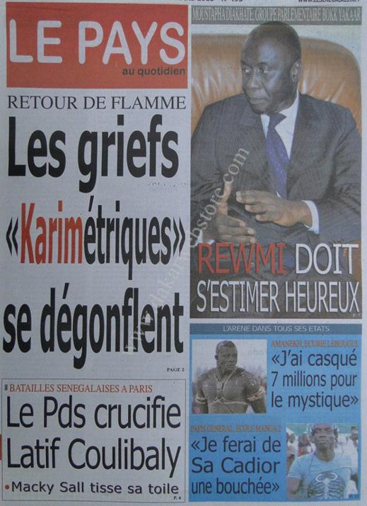 A la Une du Journal Le Pays du mercredi 13 mars 2013