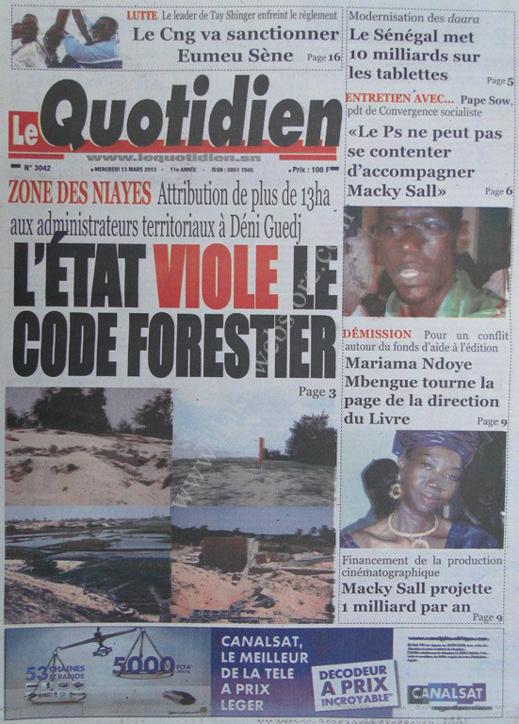 A la Une du Journal Le Quotidien du mercredi 13 mars 2013