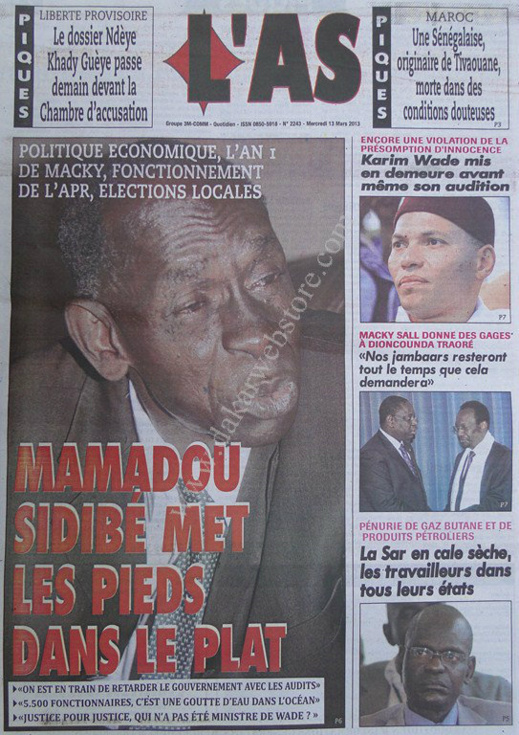 A la Une du Journal L'As du mercredi 13 mars 2013
