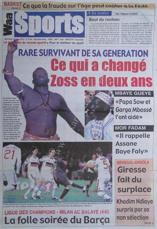 A la Une du Journal Waa Sports du mercredi 13 mars 2013