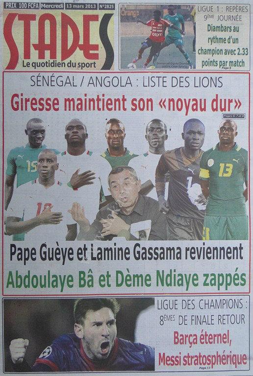 A la Une du Journal Stades du mercredi 13 mars 2013