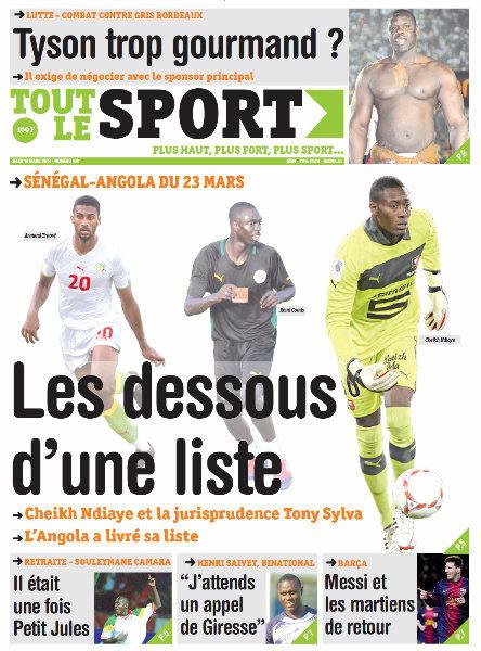 A la Une du Journal Tout Le Sport du jeudi 14 mars 2013
