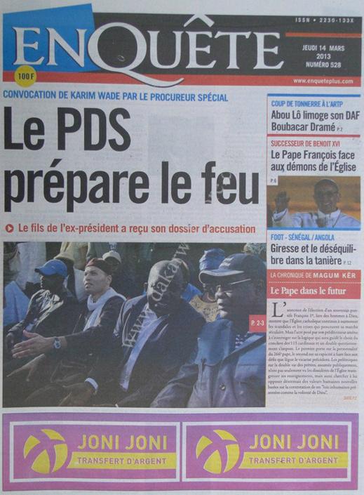 A la Une du Journal EnQuête du jeudi 14 mars 2013