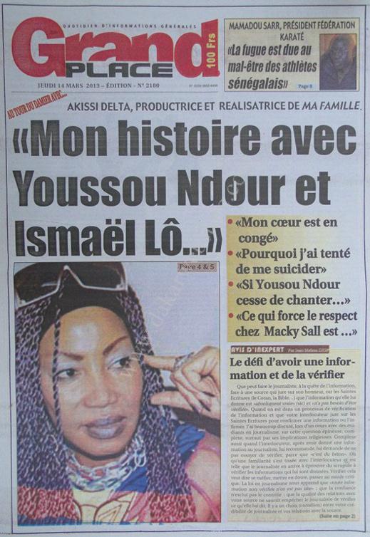 A la Une du Journal Grand Place du jeudi 14 mars 2013