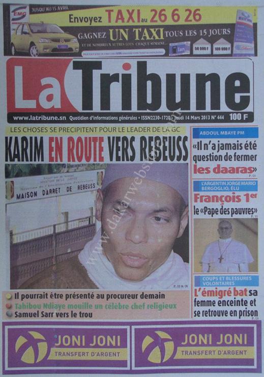 A la Une du Journal La Tribune du jeudi 14 mars 2013