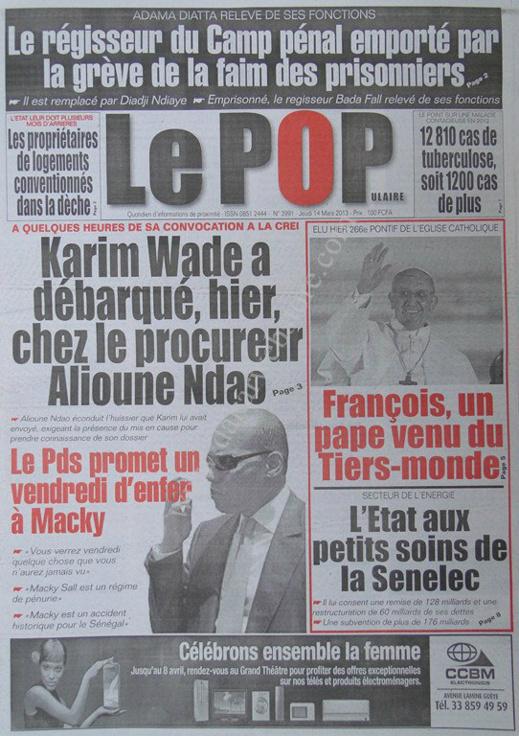 A la Une du Journal Le Populaire du jeudi 14 mars 2013