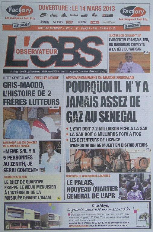 A la Une du Journal L'Observateur du jeudi 14 mars 2013