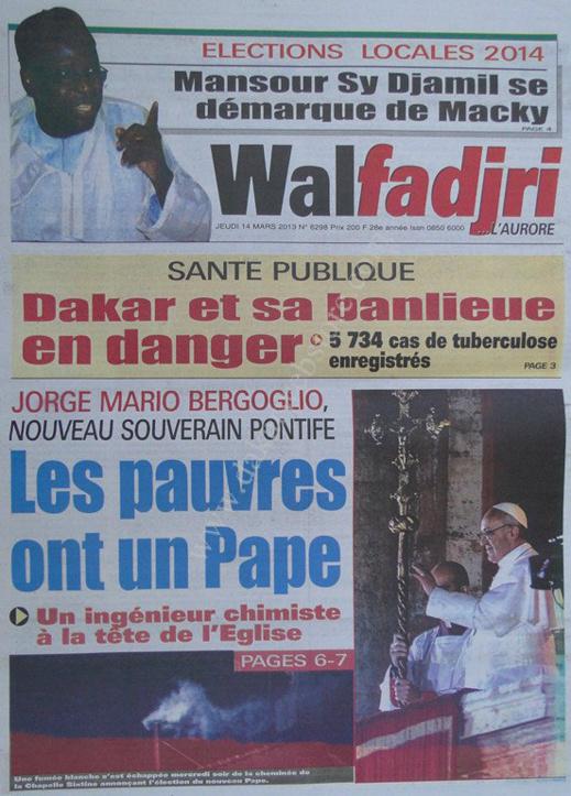 A la Une du Journal Walfadjri du lundi 18 mars 2013