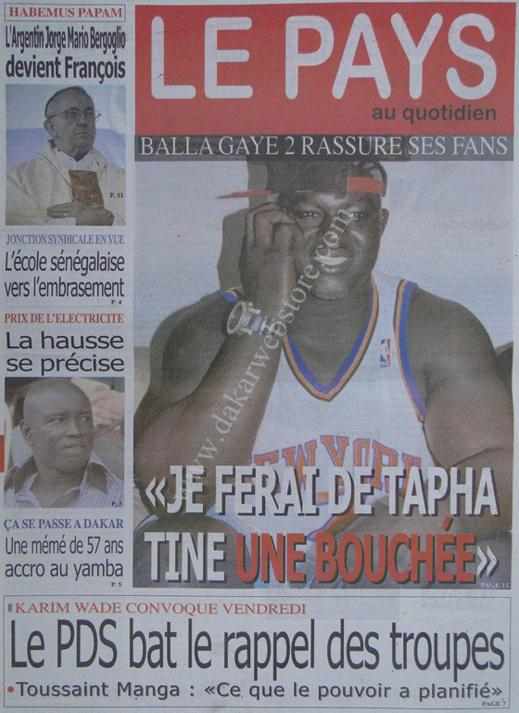 A la Une du Journal Le Pays du lundi 18 mars 2013