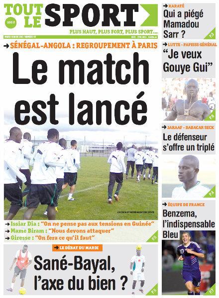 A la Une du Journal Tout Le Sport du mardi 19 mars 2013