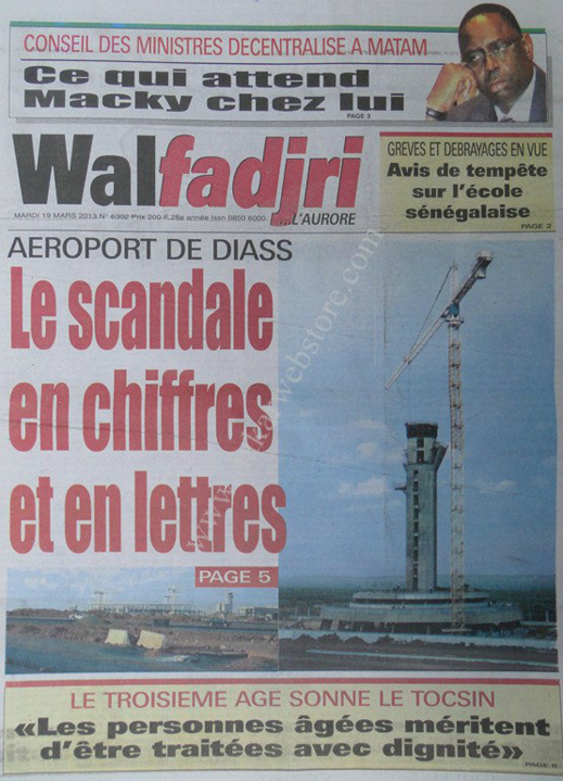 A la Une du Journal Walfadjri du mardi 19 mars 2013