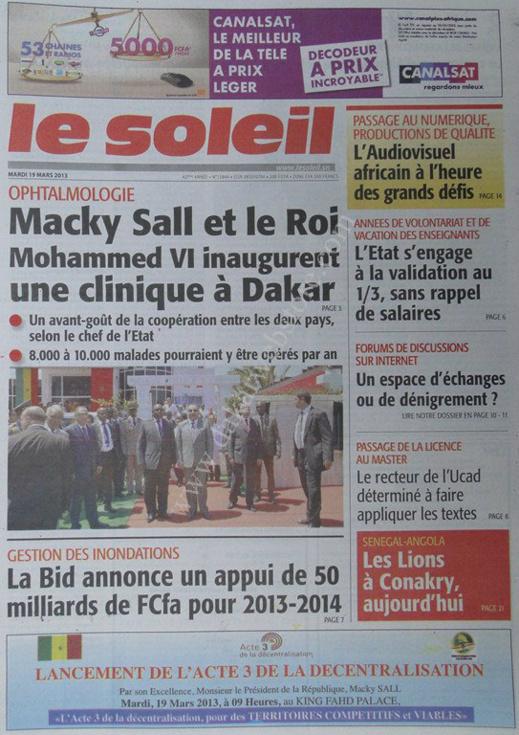 A la Une du Journal Le Soleil du mardi 19 mars 2013