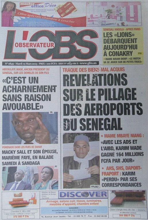 A la Une du Journal Tout L'Observateur du mardi 19 mars 2013