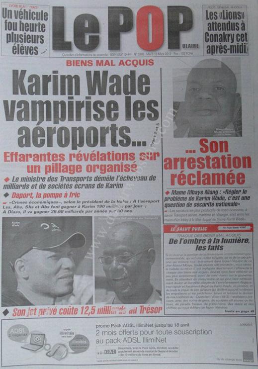 A la Une du Journal Tout Le Populaire du mardi 19 mars 2013