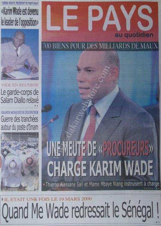 A la Une du Journal Le Pays du mardi 19 mars 2013