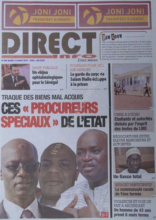 A la Une du Journal Direct Info du mardi 19 mars 2013