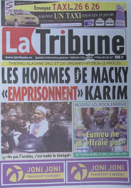 A la Une du Journal La Tribune du mardi 19 mars 2013