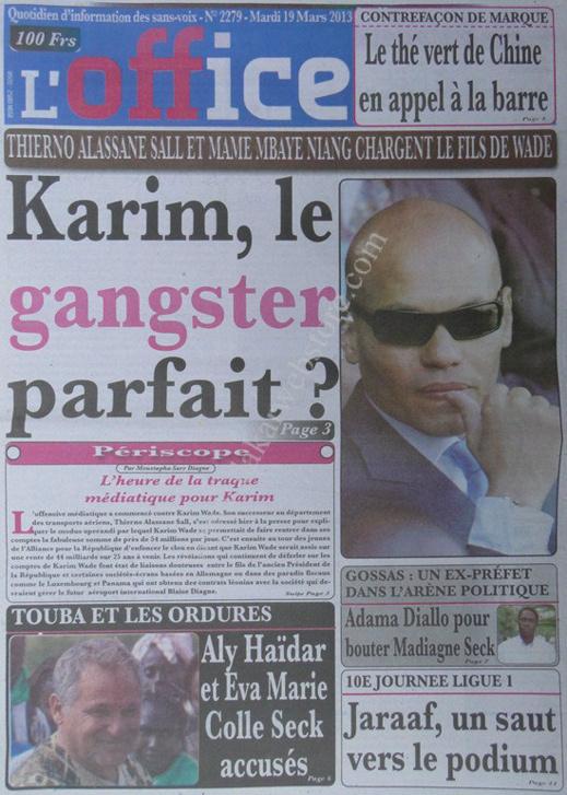 A la Une du Journal L'Office du mardi 19 mars 2013