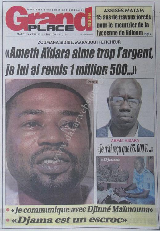 A la Une du Journal Grand Place du mardi 19 mars 2013