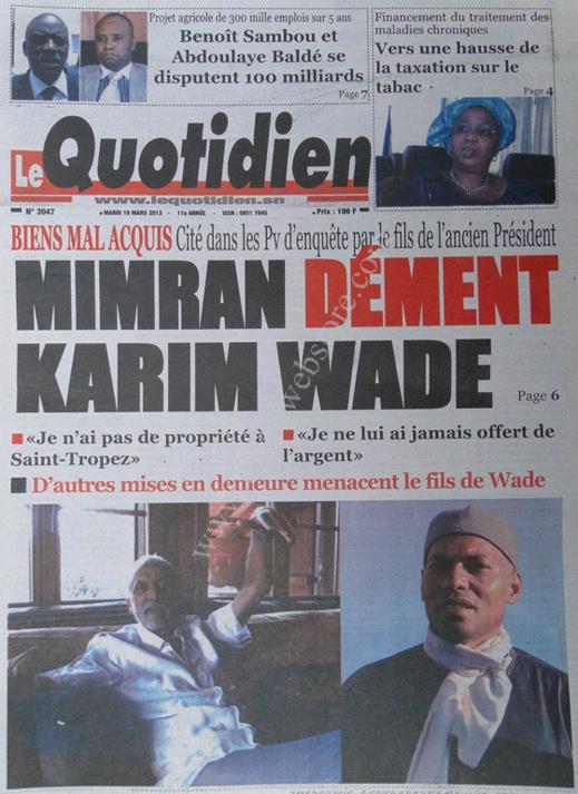 A la Une du Journal Le Quotidien du mardi 19 mars 2013
