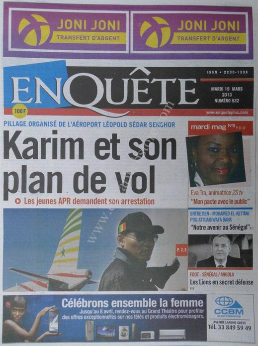 A la Une du Journal EnQuête du mardi 19 mars 2013